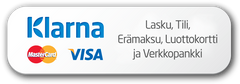 Maksutapoina mm. Klarna Tili, Klarna Lasku, Nordea, Osuuspankki, Aktia, Handelsbanken, Visa, MasterCard ja S-Pankki.